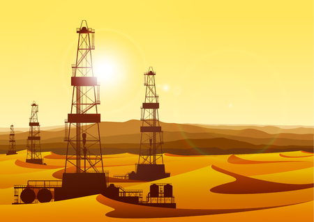 barren: Landscape with oil rigs in barren desert with sand dunes. Detailed illustration.