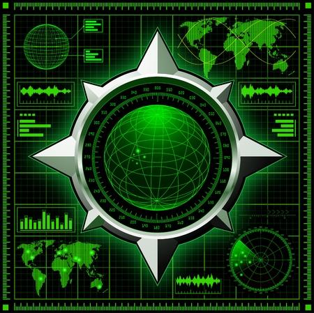 Radar screen with globe.  photo