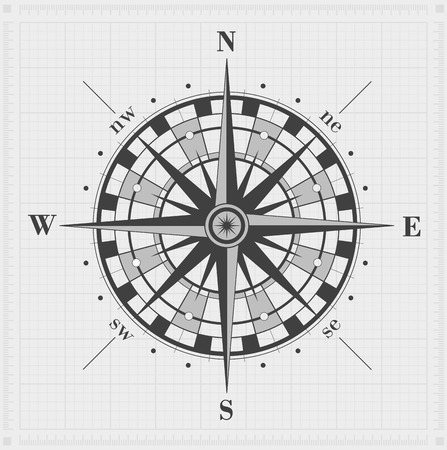 Compass rose over grid. Vector illustration.