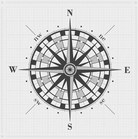 rosa de los vientos: Rosa de los vientos sobre la red. Ilustración del vector. Vectores
