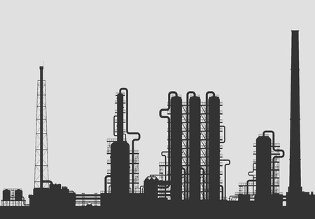 chemical plant: Olieraffinaderij of chemische fabriek silhouet. Gedetailleerde vector illustratie geïsoleerd op een grijze achtergrond.