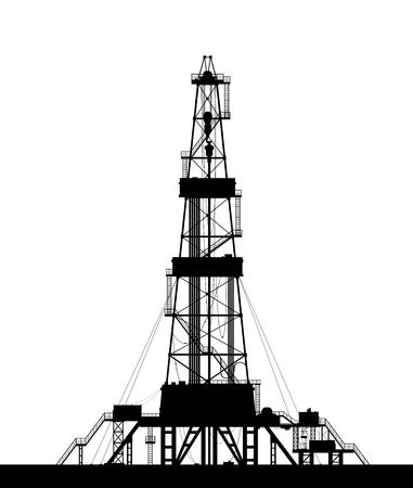 石油リグのシルエット。白い背景で隔離の詳細なベクトル図。