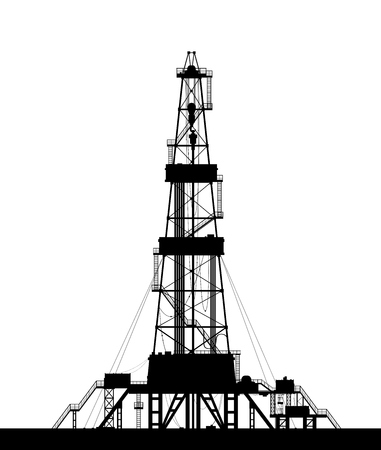 drilling: Oil rig silhouette. Detailed vector illustration isolated on white background. Illustration