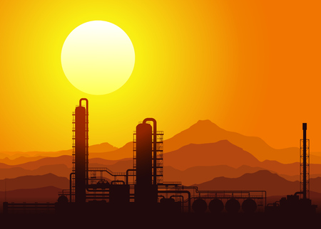 Oil refinery or chemical plant at sunset in the mountains. Vector illustration.