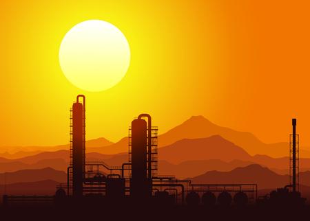 Refinería de petróleo o una planta química en la puesta de sol en las montañas. Ilustración del vector.