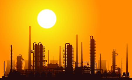 Oil refinery or chemical plant at sunset. Vector illustration. Ilustração