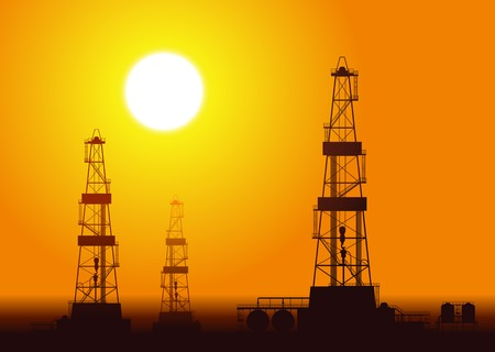 derrick: Oil rigs over sunset. Detailed vector illustration.