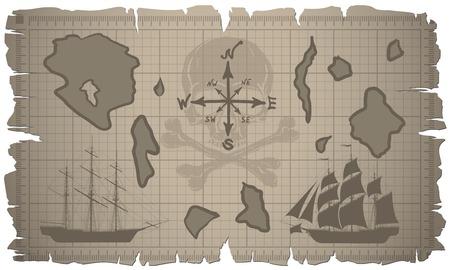 mare agitato: Impostare di vecchi fogli di carta e vecchia mappa. Vector.