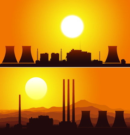 paesaggio industriale: Sagome di un impianti nucleari al tramonto. Illustrazione vettoriale.