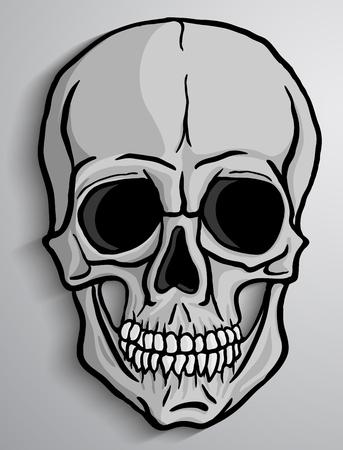 회색 배경에 인간의 두개골. 자유형 drawing.Vector 그림입니다.