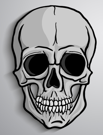 Menselijke schedel op grijze achtergrond. Freehand drawing.Vector illustratie.
