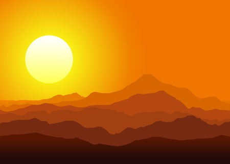 Sunset in the huge mountains. Vector illustration.