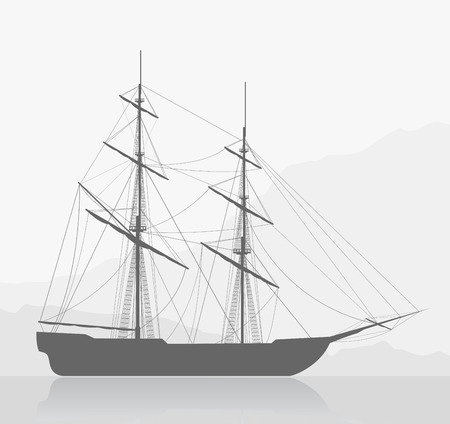 tall ship: Large sailing ship. Detailed vector illustration of large ship near seashore. Illustration