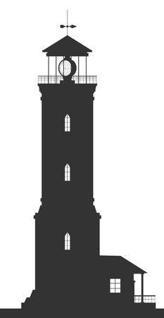 Lighthouse. Silhouette of large lighthouse isolated on white background. Vector illustration. Vector