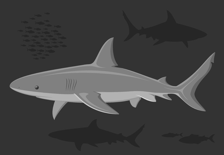 Sharks in the deep sea. Black and white illustration. Vector. Vector