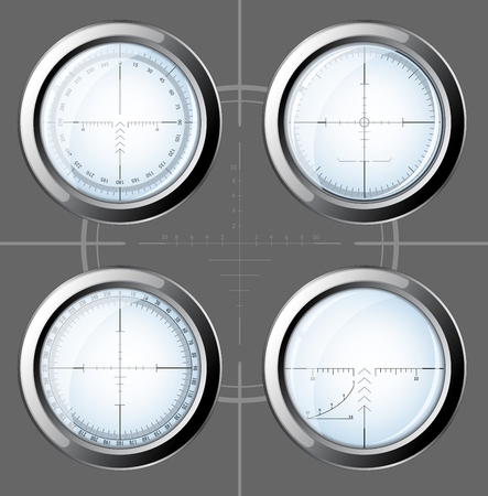 scope: Set of military design elements - sniper scopes over grey background. Vector illustration eps10. All images could be easy modified.