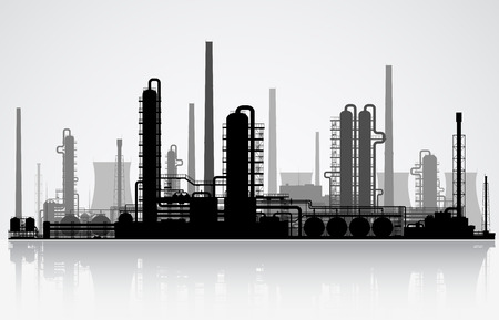 Oil refinery or chemical plant silhouette. Vector illustration.  Ilustração