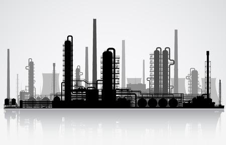 Olieraffinaderij of chemische fabriek silhouet. Vector illustratie. Stock Illustratie
