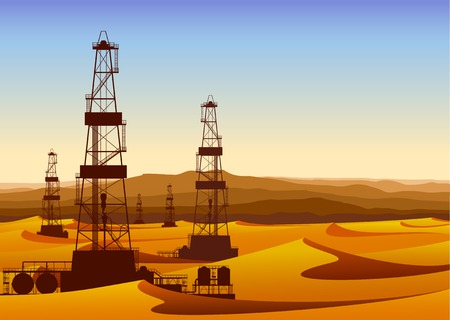 derrick: Landscape with oil rigs in barren desert with sand dunes. Detailed vector illustration. Illustration