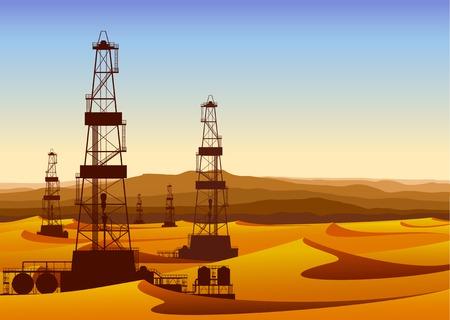 torres petroleras: Paisaje con las plataformas petroleras en el desierto árido con dunas de arena. Ilustración vectorial detallada.
