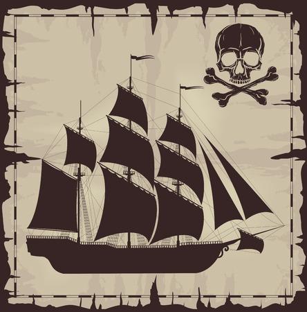 large skull: Large ship and skull over old paper. Vector illustration.