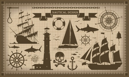 pirate banner: Set of nautical design elements