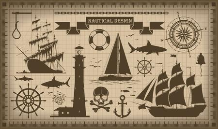 nautical vessel: Set of nautical design elements