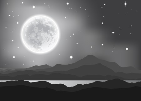 Full Moon over mountains and lake. Night landscape.  Vector