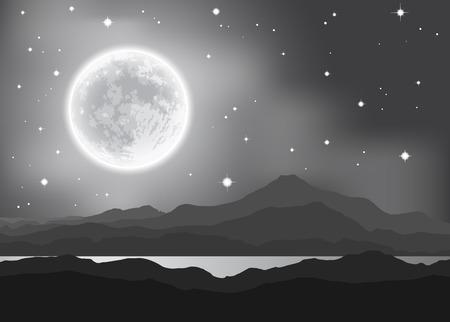Volle maan over de bergen en het meer. Nacht landschap.