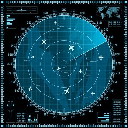 Blue radar screen with planes.  Vector
