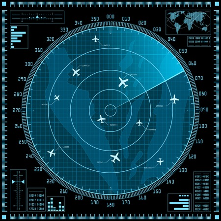 military aircraft: Blue radar screen with planes.
