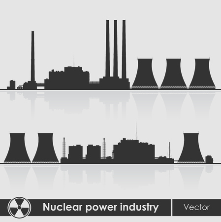 Silhouettes of a nuclear power plants. Vector illustration. Vector