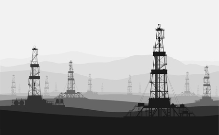 Oil rigs at large oilfield over mountain range. Detailed vector illustration. Vectores