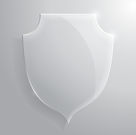 Glass transparent shield. Vector illustration.