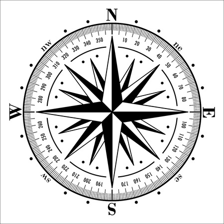 Kompas roos geïsoleerd op wit. Vector illustratie.
