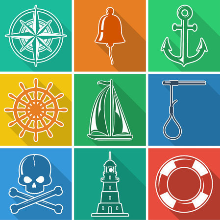 the noose: Set of colored flat nautical icons. Vector illustration. Illustration