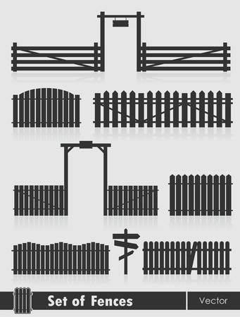 palisade: Set of black fences with gate isolated over grey background.