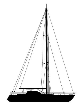 luxury yacht: Yacht. Detailed vector illustration of black yacht isolated on white background. Illustration