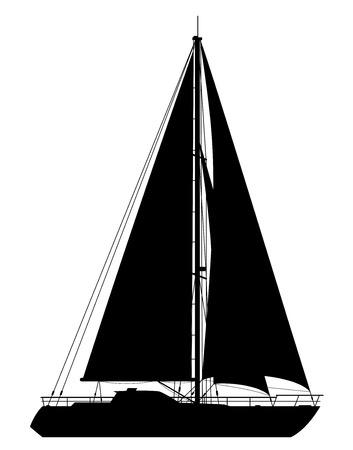 Yacht. Gedetailleerde vector illustratie van zwarte jacht op een witte achtergrond. Stock Illustratie