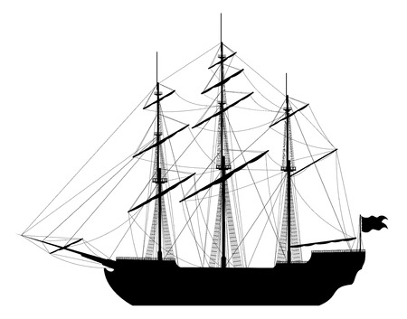 Large sailing ship  Detailed vector illustration of large black ship isolated on white background   Vector