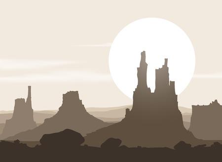 desierto: Paisaje sin vida con monta�as de m�s de la puesta de sol