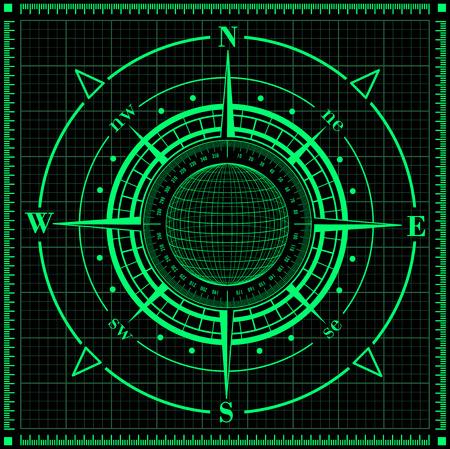 Radar compass rose with globe  Vector illustration  Vector