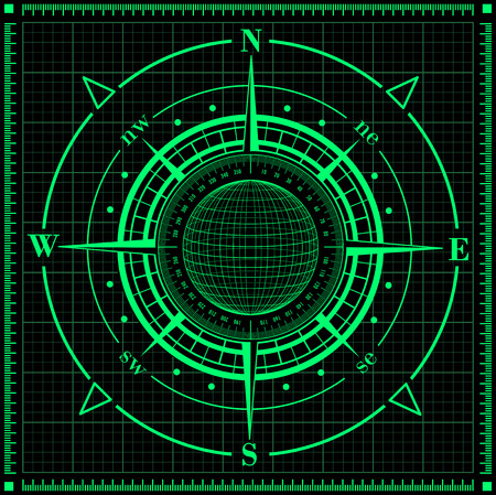 sonar: Radar compass rose with globe  Vector illustration  Illustration