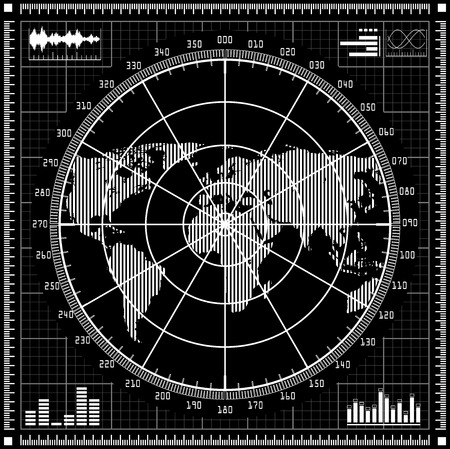 sonar: Radar screen.  Black and white vector illustration.