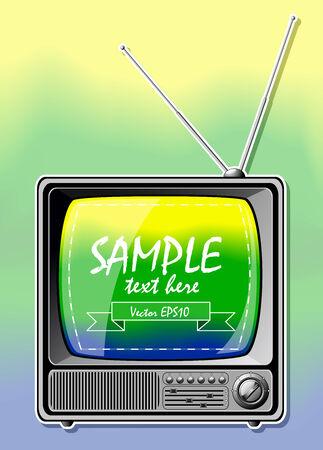 vintage television: Summer Color TV. Vector illustration. Illustration