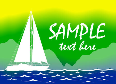Brazil Summer Color Background With Yacht. Vector illustration. Vector