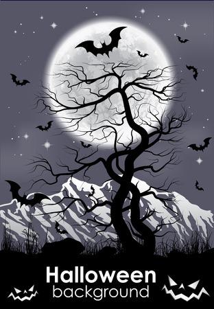 lifeless: Halloween background with foll Moon and lifeless tree. Vector illustration.  Illustration