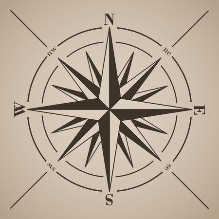 Compass rose. Vector illustration.  Vettoriali