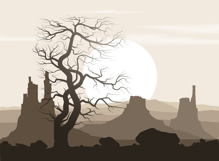 wilderness area: Lifeless landscape with old huge tree and mountains over sunset. Vector illustration. Illustration