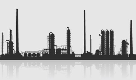 Olieraffinaderij of chemische fabriek silhouet. Gedetailleerde vector illustratie geïsoleerd op een grijze achtergrond.